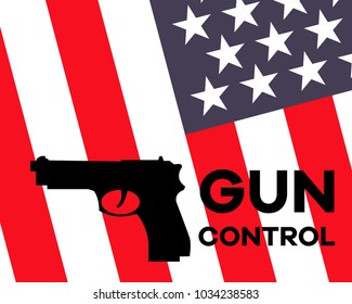 """Gun silhouette with """"Gun Control"""" sign and American flag on background"""