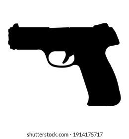 Gun silhouette icon. Black handgun symbol. Vector shape isolated on white.