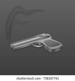 Gun with smoke on dark background vector illustration