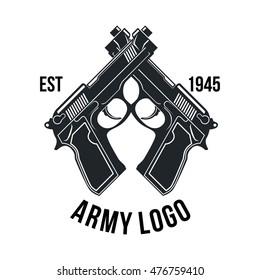 Gun store, Shooting club, Army badge logo