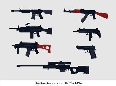gun vector design .gun vector illustration..g63c,ak47,m14,m240,uzi,pistol all gun vector.all gun vector design .creative modern rifles