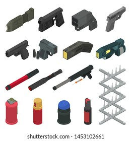 Gun vector handgun shooting weapon pepper spray military firearm illustration army isometric set of weaponry shooter isolated on white background