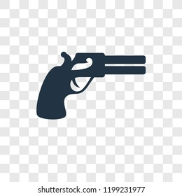 Gun vector icon isolated on transparent background, Gun transparency logo concept