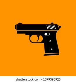 Gun vector icon on orange background