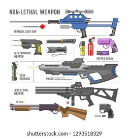 Gun vector military non-lethal weapon or army handgun and electroshok pepper-spray illustration set of shotgun lethal-weapon stun grenade isolated on white background