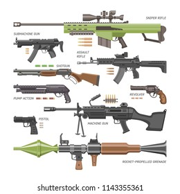 Gun vector military weapon or army handgun and war automatic firearm or rifle with bullet illustration set of shotgun or revolver isolated on white background