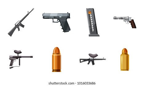 Gun and weapon icon set. Cartoon set of gun and weapon vector icons for web design isolated on white background