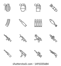 Gun weapon line icons set. linear style symbols collection outline signs pack. vector graphics. Set includes icons as fragmentation grenade, bullets, air bomb, smoke grenade, machine gun, sniper rifle