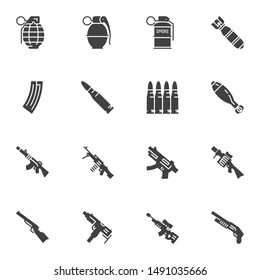 Gun weapon vector icons set, modern solid symbol collection filled style pictogram pack. Signs, logo illustration. Set includes icons as fragmentation grenade, bullets, bomb, machine gun, sniper rifle