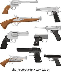 Gun Weapon War Crime Security Military Police Equipment, vector illustration cartoon.