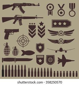Gun, weapons and military icon set. Sub machine guns, pistol and bullets icons. Symbolics and badge for army. Vector illustration.