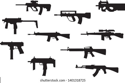 Gun weapons vector icon set