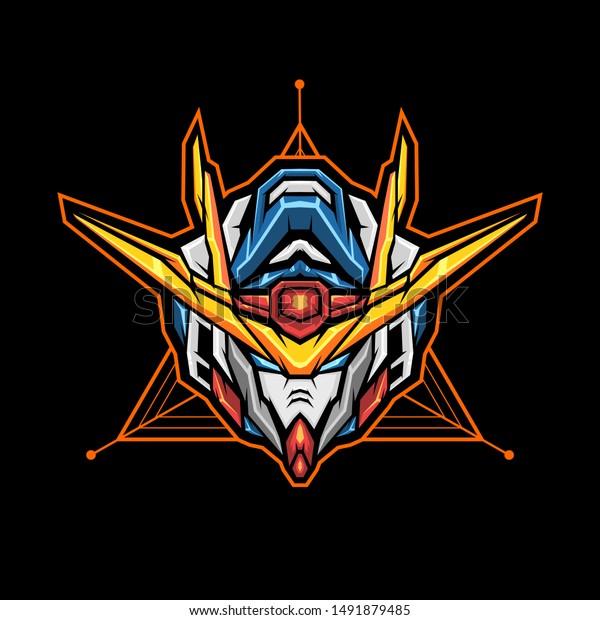 Awesome Gundam Head Vector Illustration