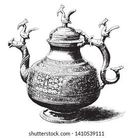 Gunga Sagar is a water vessel from Jhelum, vintage line drawing or engraving illustration.