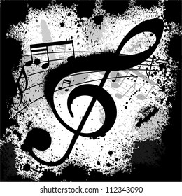 Gunge black background with music notes
