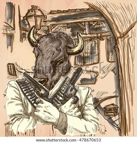 Gunman Animal Shooter Bison Freehand Sketching Stock Image