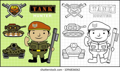 Gunman with armored vehicles, coloring book or page, vector cartoon illustration