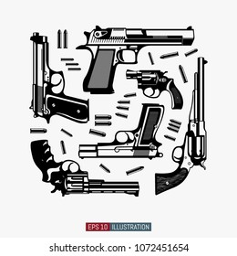 Guns and ammunition silhouettes set. Template for T-shirt print. Vector illustration.
