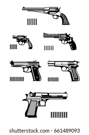 Guns and ammunition silhouettes set. Vector illustration.