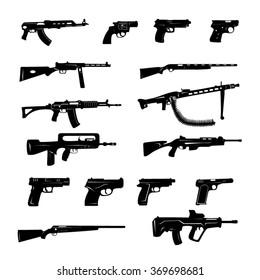 Guns black and white Icons- Illustration