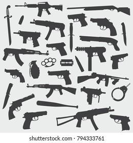 Guns Flat Vector Silhouette