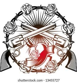 guns heart and roses emblem