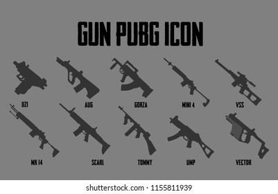 Guns icon collection Games online PLAYER UNKNOWN'S BATTLE GROUND,PUBG  Gun Icon