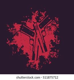 guns on the grunge splash, 2 pistols, handguns for t-shirt print, vector illustration