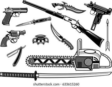 Guns: Pistol and Revolver. Sword, Brass and dagger knife
