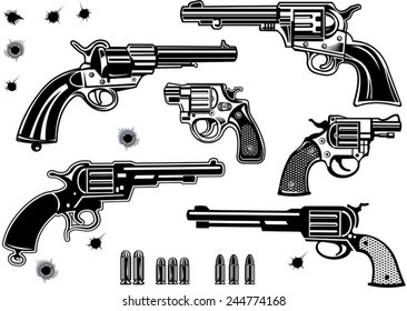 Guns: Revolver collection set of Bullet. Bullet Hole