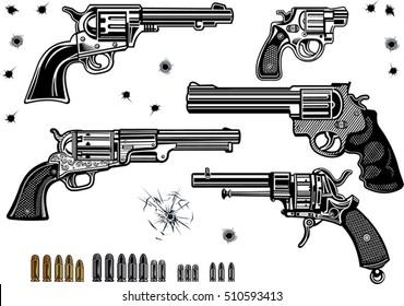 Guns: Revolver collection set of Bullet. Bullet Hole