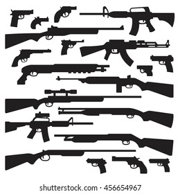 Guns, rifles, shotguns, handguns, assault rifles, and other general guns silhouettes.