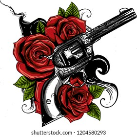 guns and rose flowers drawn in tattoo style. Vector illustration.