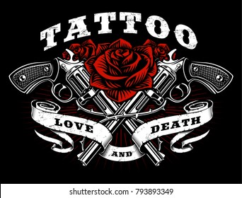 a818639b9 Guns and roses tattoo design. Black and white illustration with revolvers,  roses and vintage