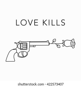 Guns and roses vector illustration. Love kills. Mono line trendy style
