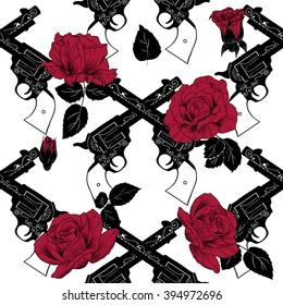 Guns and roses. Vector seamless pattern