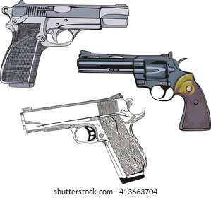 Guns Set - Pistols and Revolver. Vector illustrations.