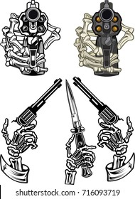 Guns in skeleton hands