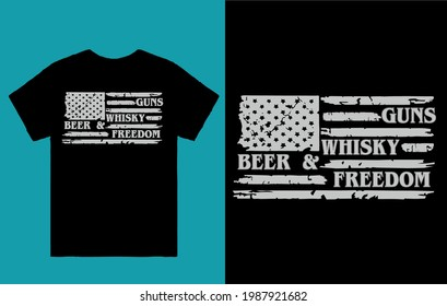 Guns whisky beer and freedom- American flag t shirt design vector