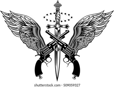 Guns and Wings. Knife dagger and Wing Revolvers