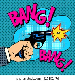 The gunshots gangster murder pop art retro style. Detective movie shootout