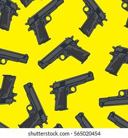 Guns/Pistols Seamless Pattern. Background Wallpaper