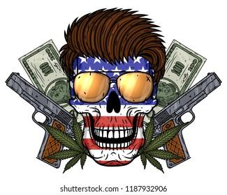 Gunster's skull. Skull with American flag, guns, money and marijuana leaves