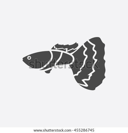 Guppy Fish Icon Black Singe Aquarium Stock Vector (Royalty Free
