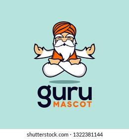 guru cartoon mascot logo icon vector