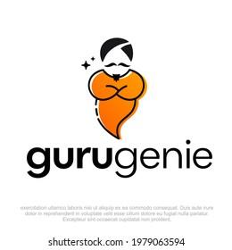 Guru Genie Logo design template. Genie Logo Design. Genie illustration. Abstract vector of a genie for logo