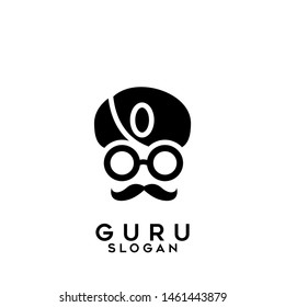 guru logo black icon design vector illustration