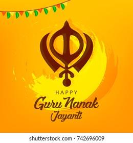 Guru Nanak Jayanti grungy background.
