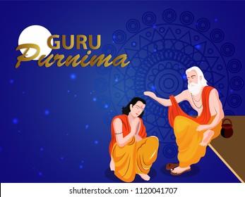 Guru purnima, illustration, on blue background with moon night