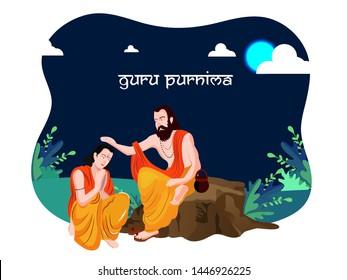 Guru Purnima Illustration , guru or shishya concept of night . festival of hindu, buddhist and nepalese. full moon night.